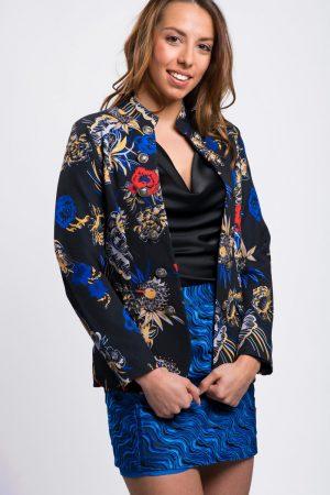 blazer-femme-noir-bleu-fleuri-pas-cher