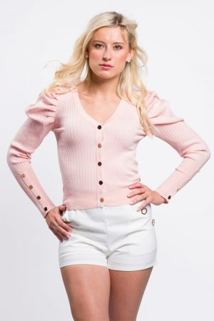 cardigan-court-boutonné-rose