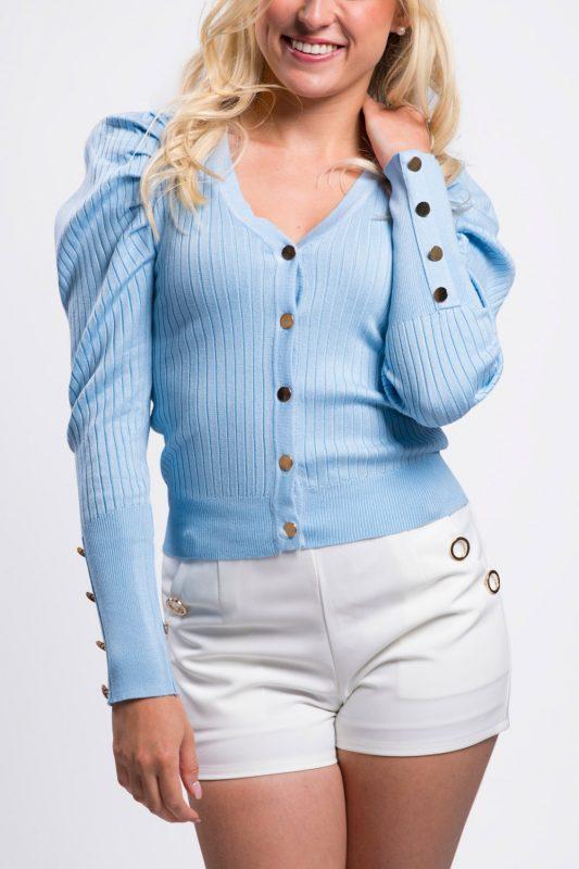 cardigan-femme-court-boutonné-bleu