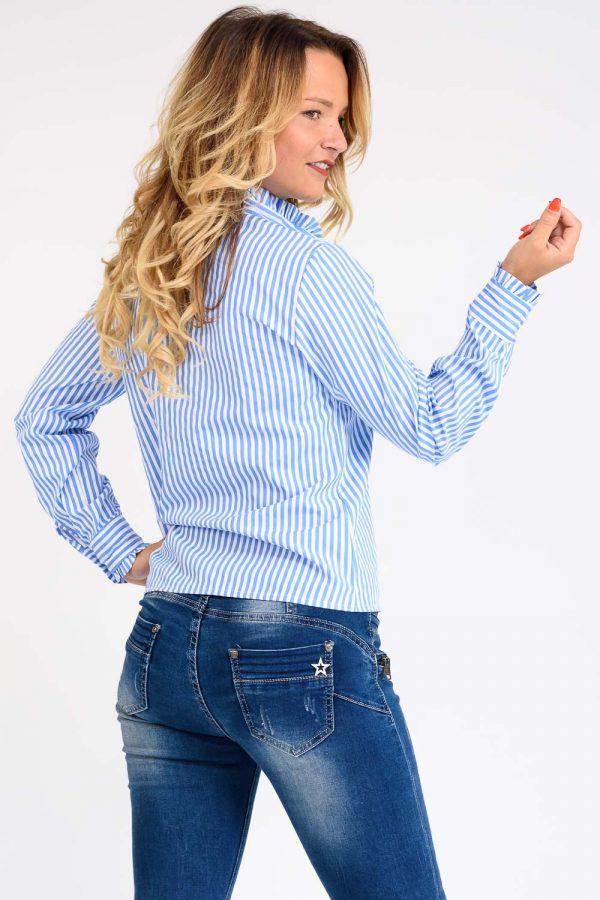 chemise à rayure bleu