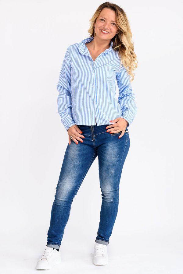 chemise bleu raye