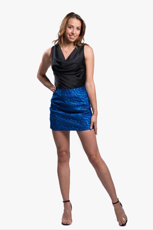 jupe imprimé bleu et noir