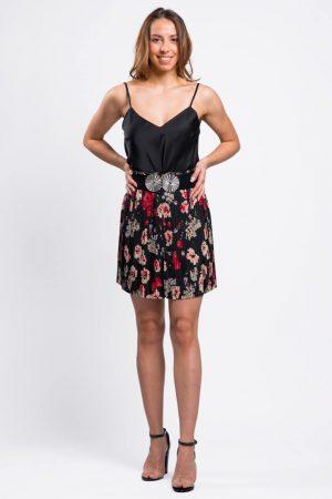 jupe-plissée-fleurie