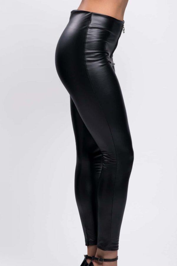 leggings simili cuir noir femme