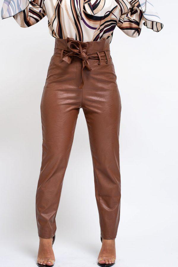 pantalon simili cuir camel femme