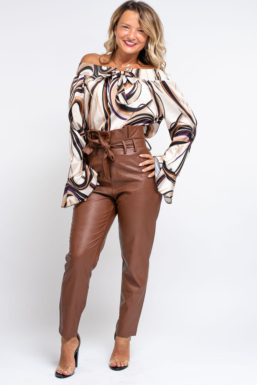 pantalon similicuir camel