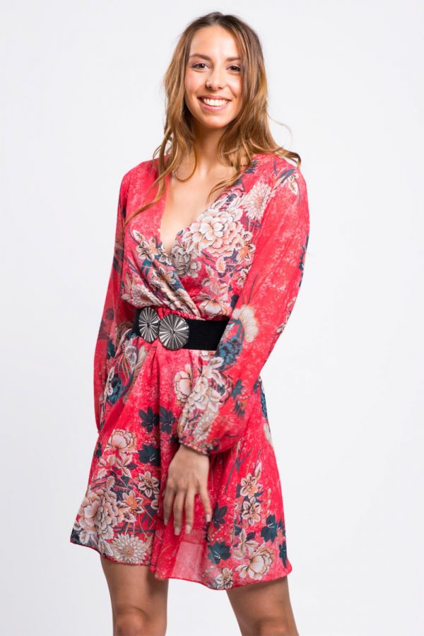 robe-femme-rouge-fleurie