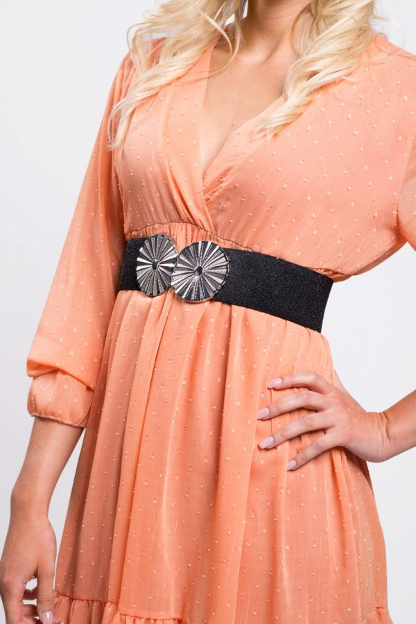 robe-femme-soirée-évasée-orange