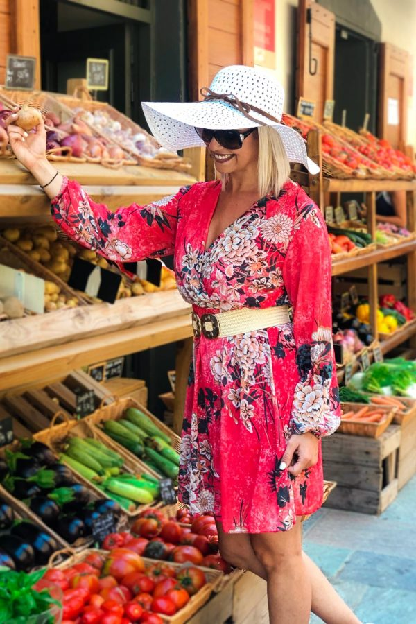 robe-fleurie-courte-rouge-ete