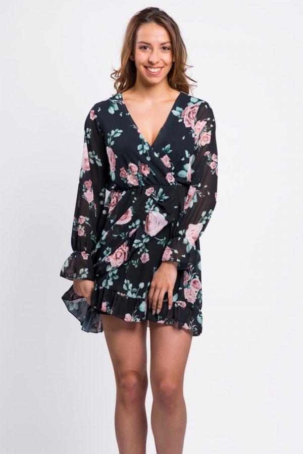 robe-noir-imprimée-fleurie