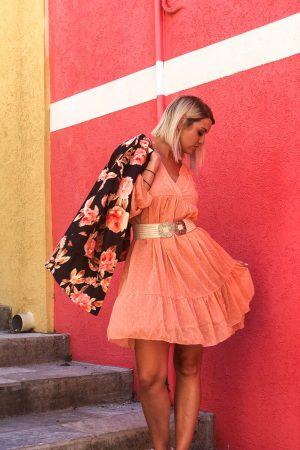 robe-orange-femme-evasee