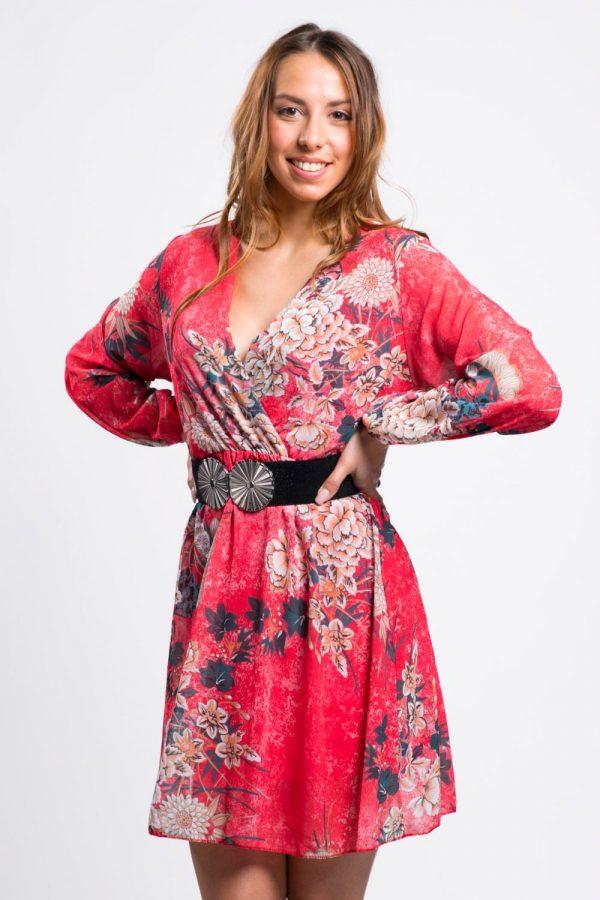 robe-rouge-fleurie