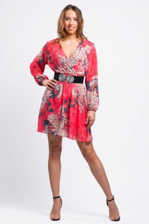 robe-rouge-imprimée-fleurie