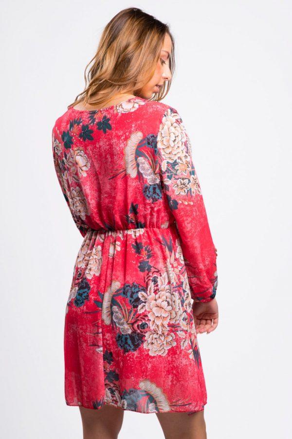 robe-soirée-femme-rouge-fleurie