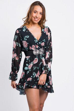 Robe Noire Imprimee Fleurie Vetement Femme Girlyz Shop