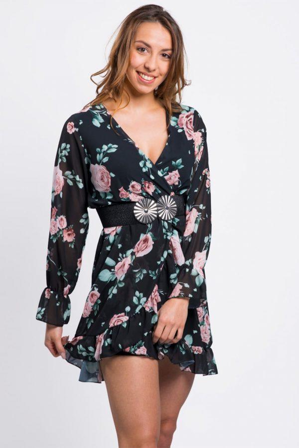 robe-soirée-noir-fleurie