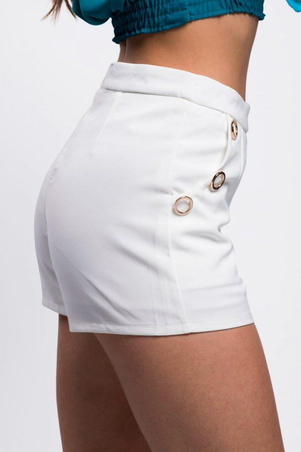 short-blanc-anneaux-dorés