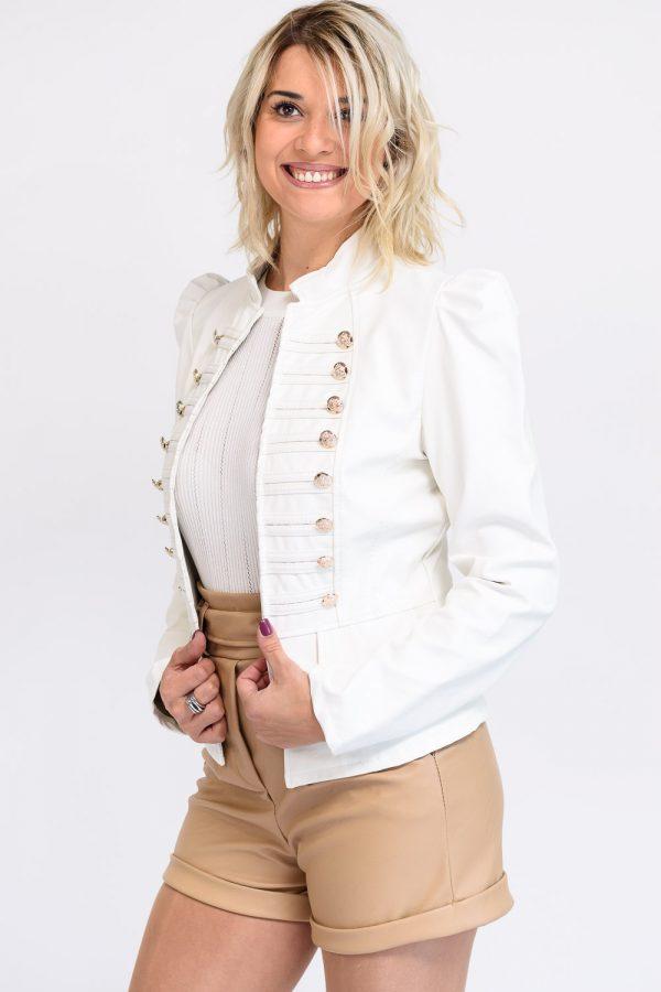 veste blanche simili cuir