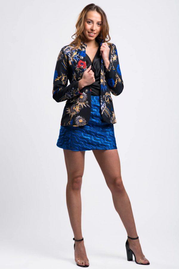 veste-blazer-noir-bleu-imprimé-fleuri