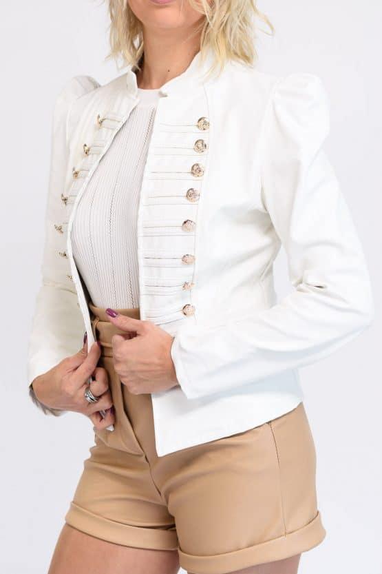Veste simili cuir blanche