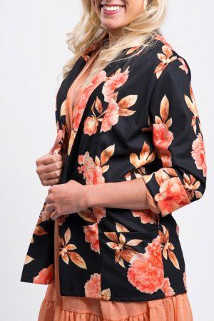 veste-noire-femme-mi-saison-blazer-fleuri