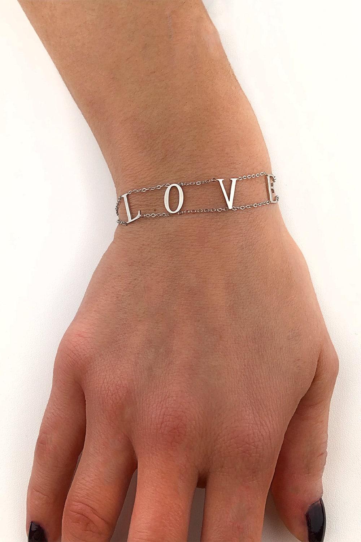 bracelet argent femme love