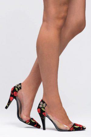 chaussures à talons noir imprimés