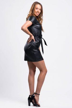 robe-de-soirée-similicuir-noir