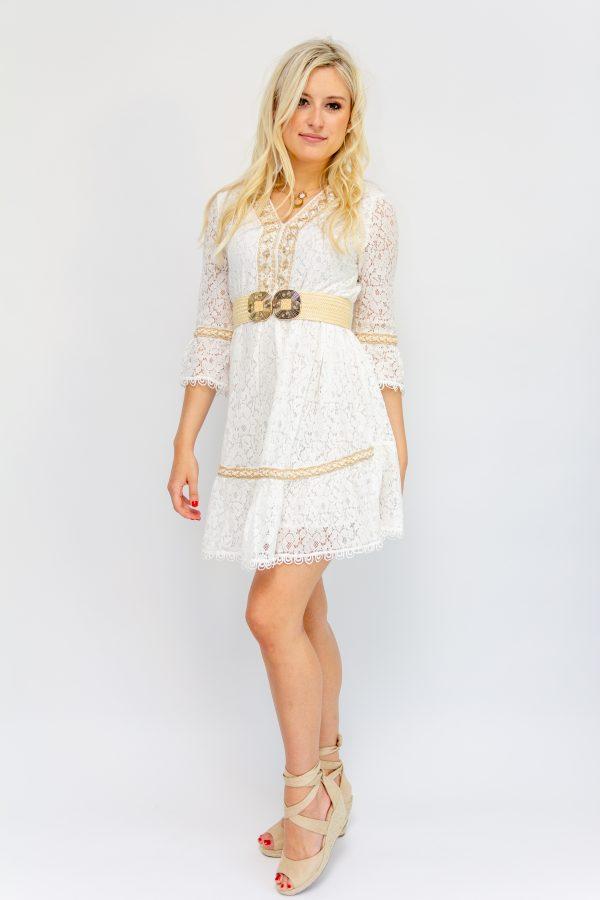 Robe bohème blanche courte en dentelle