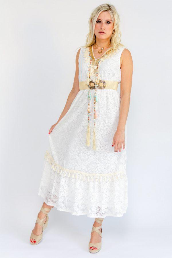 Robe longue bohème à dentelle blanche