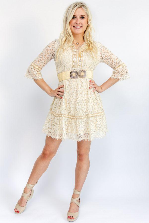 robe bohème courte beige