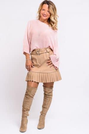 jupe plisse similicuir beige