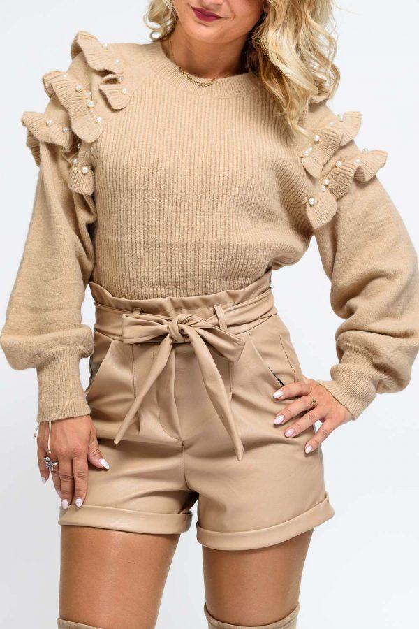 pull femme beige