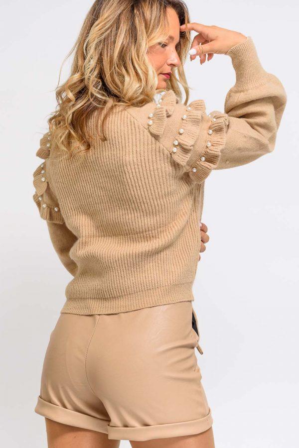pull over beige femme
