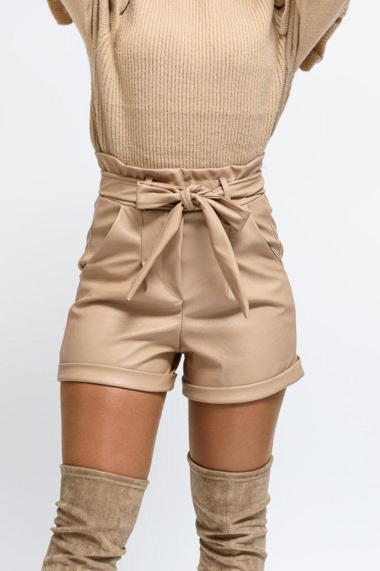 short femme simili cuir