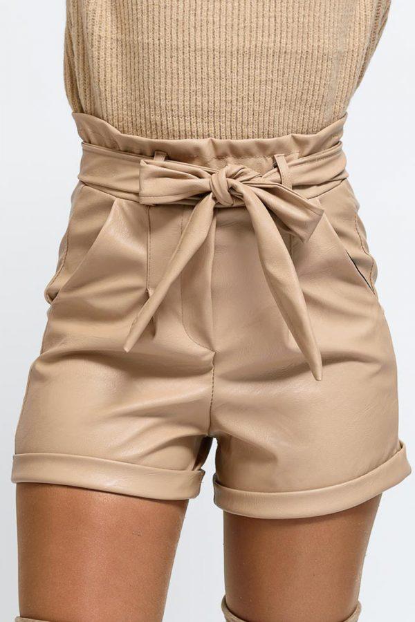 short femme simili cuir beige