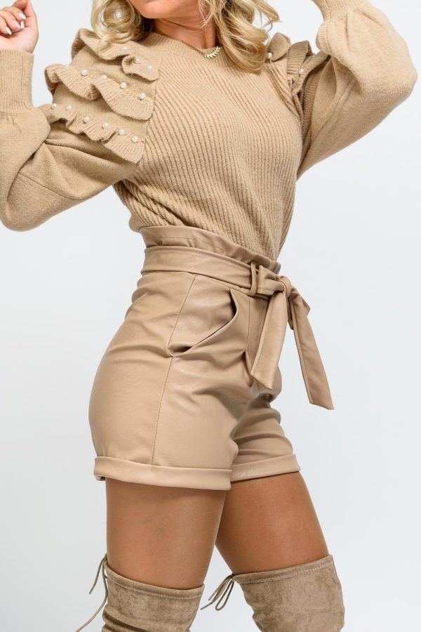 short simili cuir beige