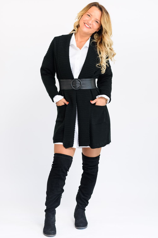 gilet noir long pour femme