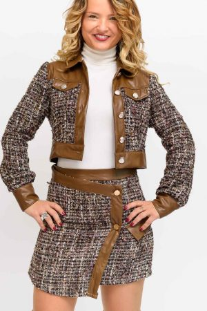 veste tweed marron