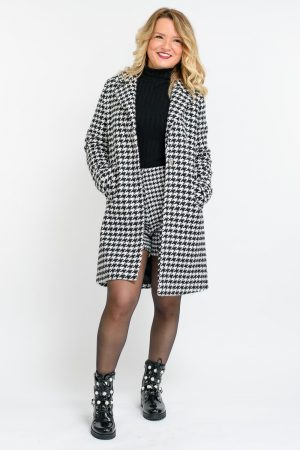 manteau motif pied de poule femme
