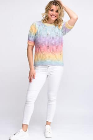 Top rainbow à grosse maille