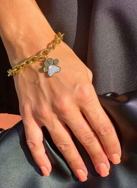 bracelet or et strass femme